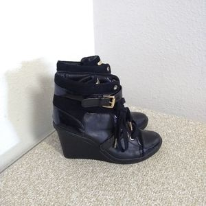 Michael Kors Black Patent Leather Wedge Sneakers